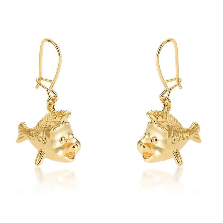 Couture Kingdom: Disney - Princess Ariel Flounder Hook Earrings (Yellow Gold) image