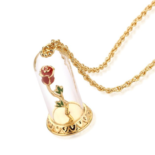 Disney: Beauty and the Beast Enchanted Rose Necklace - Yellow Gold