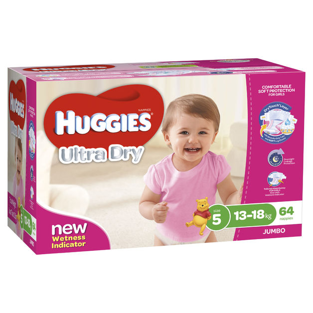 Huggies Ultra Dry Nappies Jumbo Pack - Size 5 Walker Girl(64)
