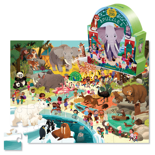 Crocodile Creek: 48-Piece Shaped Box Puzzle - Day at the Museum/Zoo