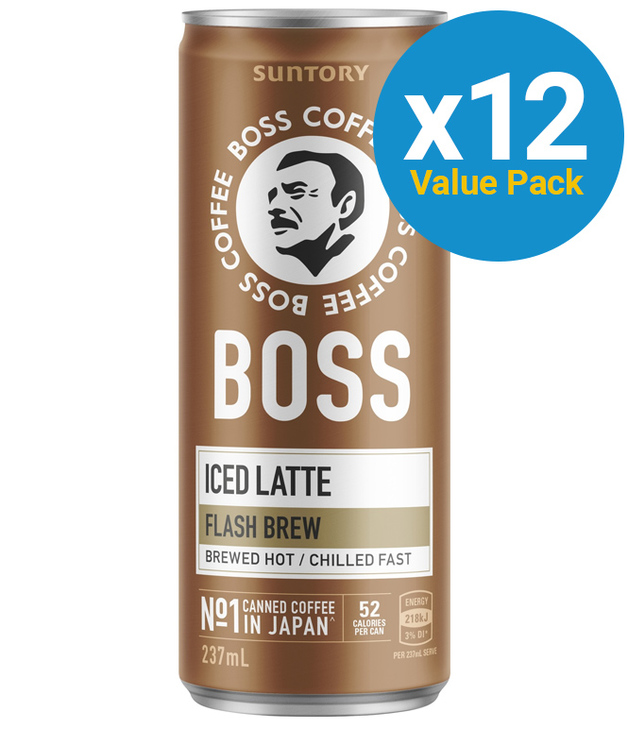 Suntory Boss Coffee Latte Can 237ml (12 pack)