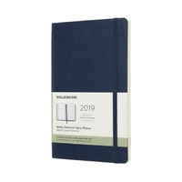 Moleskine: 2019 Large Soft Cover 12-Month Weekly Notebook Planner - Sapphire Blue