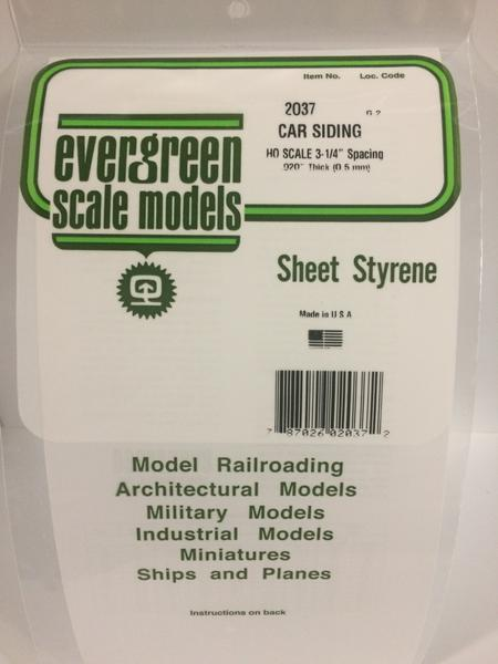 Evergreen Styrene Ho Scale Car Siding 29X15 mm X0.5 mm