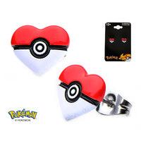 Pokemon Pokeball Heart Earrings