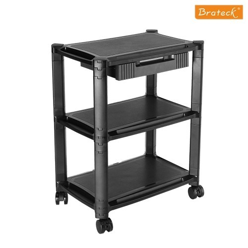 Brateck: Height-Adjustable Smart Cart XL with Three-Shelves and Drawer 13''-32''