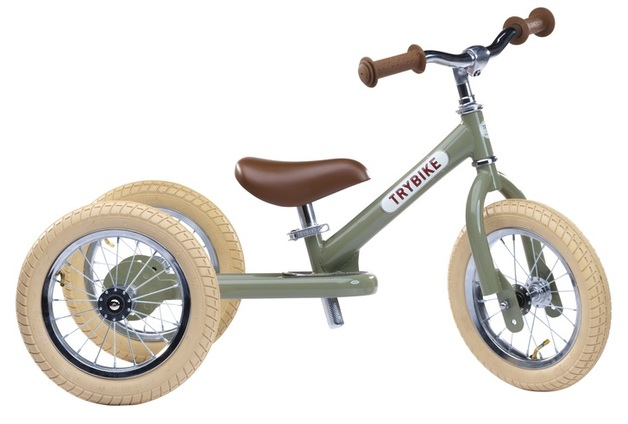 Trybike: 2-In-1 Vintage Balance Bike - (Green/Creme)