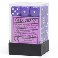 Chessex: D6 Opaque Cube Set (12mm) - Purple/White