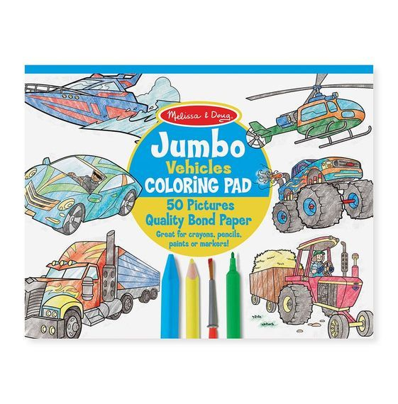 Melissa & Doug: Jumbo Vehicles Colouring Pad