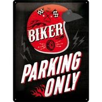 Nostalgic Art: Tin Sign - Biker Parking Only (Helmet)