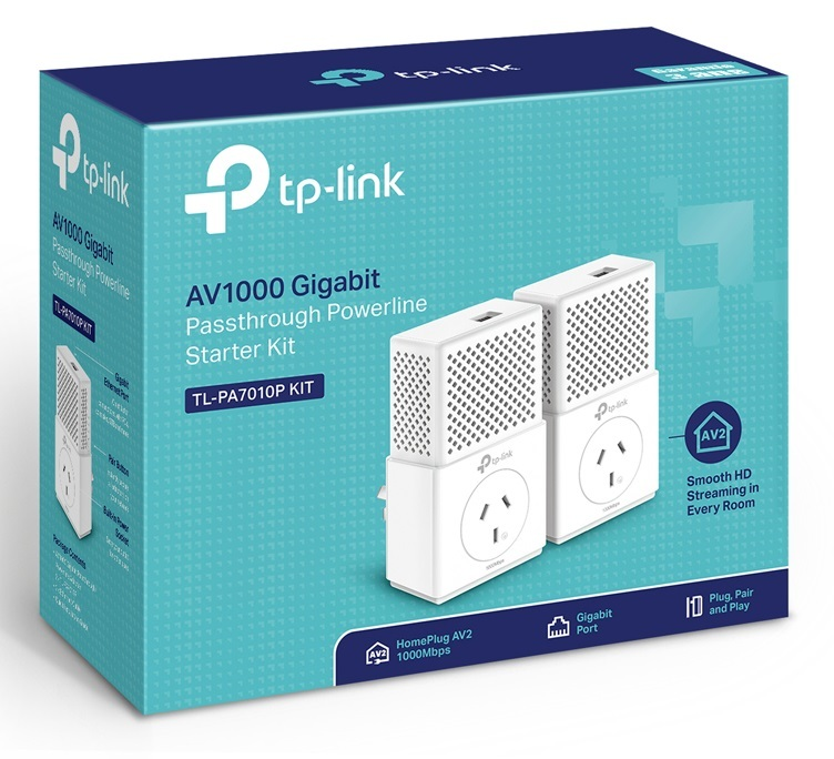 TP-Link TL-PA7010P AV1000 Gigabit Passthrough Powerline Starter Kit image