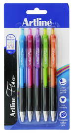 Artline Flow Retractable Pen Brights (5 Pack)