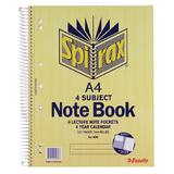 Spirax 606 4 Subject Notebook A4