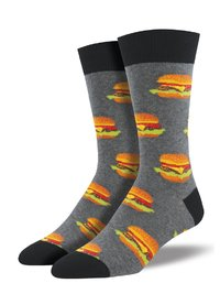Mens - Heather Gray Good Burger Crew Socks