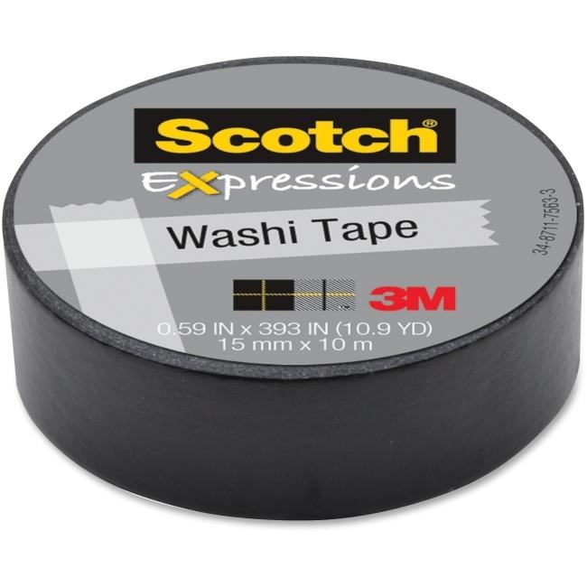 Scotch Washi Craft Tape Black 15mm x 10m image