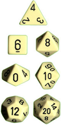 Chessex Opaque Polyhedral Dice Set - Ivory/Black image