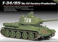 "Academy 1/35 Russian T-34/85 ""112 Factory"" Scale Model Kit"