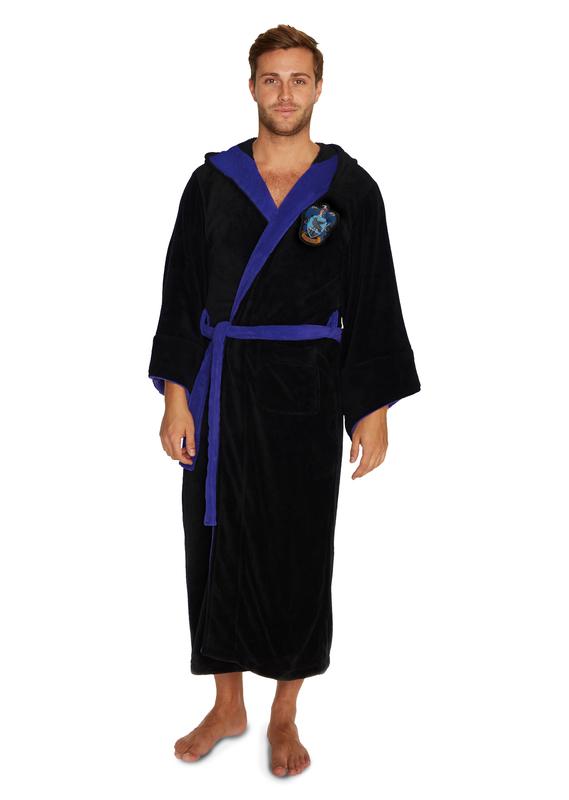Harry Potter: Ravenclaw Fleece Bathrobe - Black & Blue Men's (One Size)