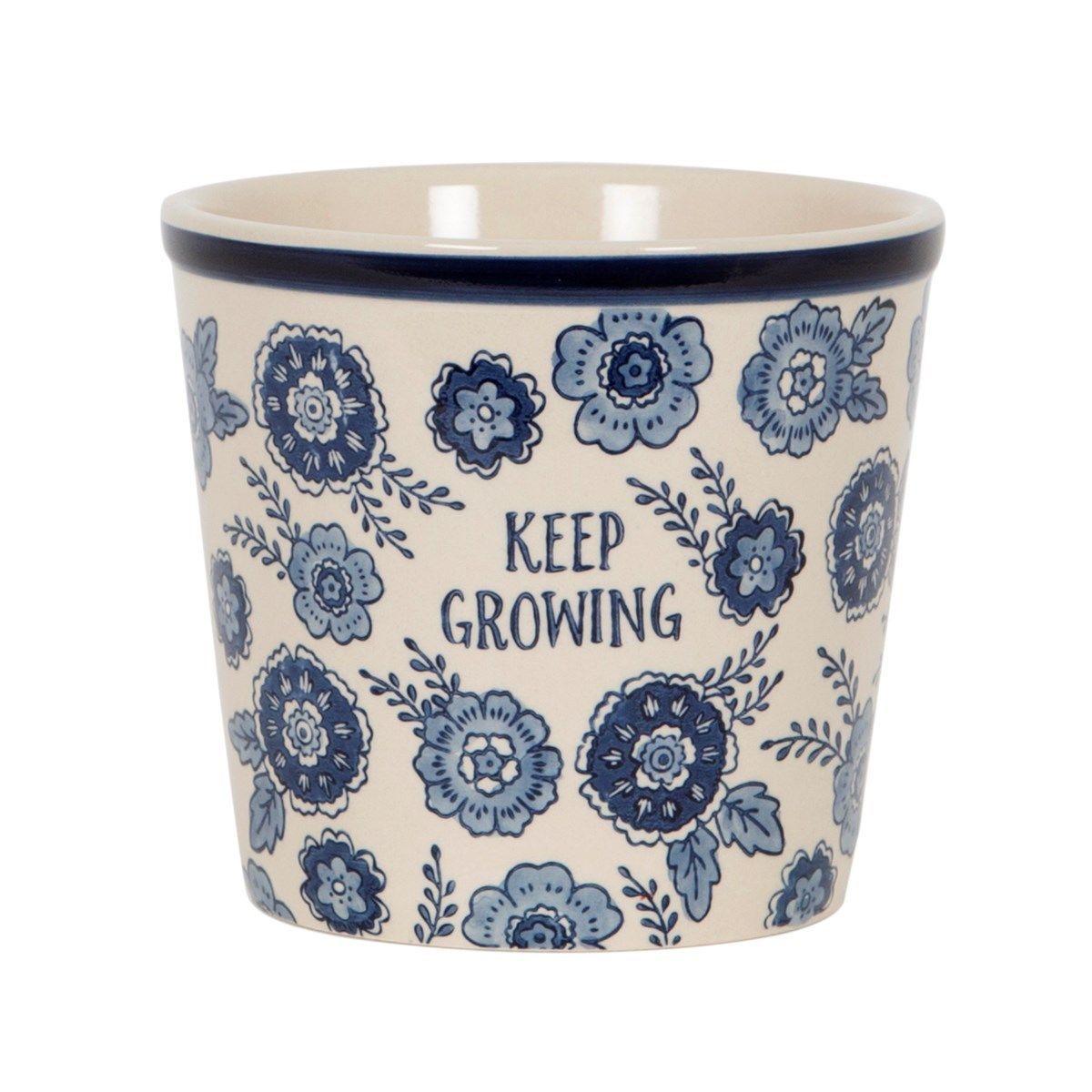 Keep Growing Planter (Blue Floral) image