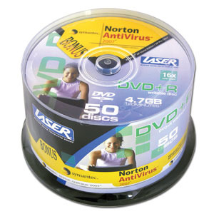 LASER DVD-R 50Pk  on Spindle with Norton AntiVirus