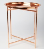 Copper Folding Coffee Table With Round Tray