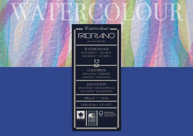 Fabriano: Studio Watercolour Pad 300gsm A5 Cold Pressed - 12 Sheets