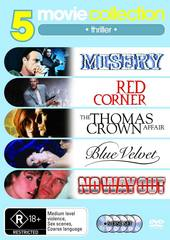 5 Movie Collection: Thriller Pack Misery / Red Corner / The Thomas Crown Affair / Blue Velvet / No Way Out on DVD