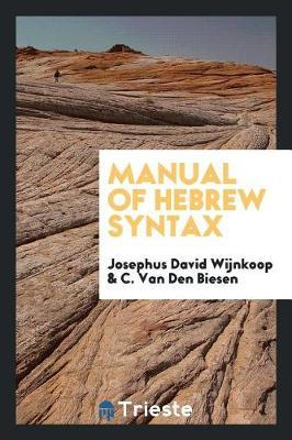 Manual of Hebrew Syntax by Josephus David Wijnkoop