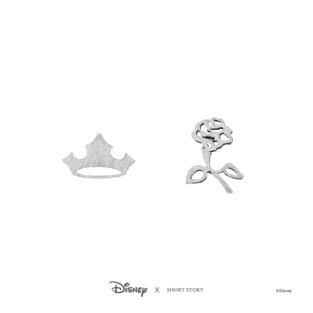 Short Story: Disney Earring Aurora Flower and Crown - Silver