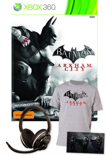 Batman Arkham City Turtle Beach bundle (Game, Headset, T-Shirt, DLC) for Xbox 360