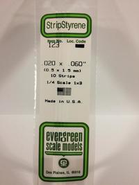 Evergreen Styrene Stripstyrene White .5X1.5 mm (10)