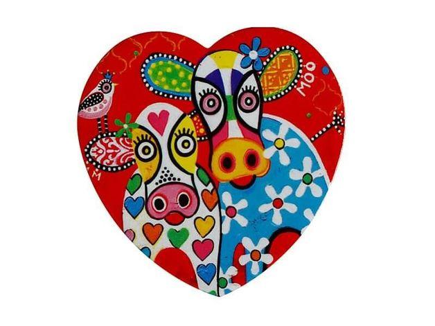 Maxwell & Williams: Love Hearts Ceramic Heart Coaster - Happy Moo Day (10cm)