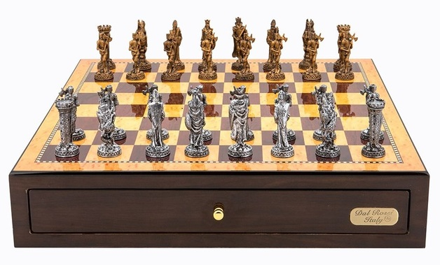 "Dal Rossi: Medieval Warriors - 18"" Pewter Chess Set (Walnut Finish)"