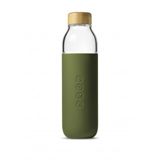 Water Bottle Glass 470ml - Olive
