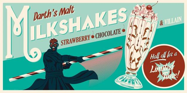 Star Wars: Darth's Malt Milkshakes - Silk Screen Art Print