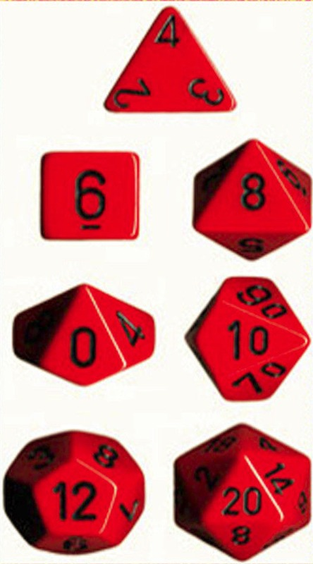 Chessex - Polyhedral Dice Set - Red/Black Opaque
