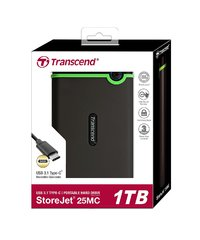 Transcend: StoreJet 25MC 1TB USB Type-C Portable Hard Drive - Gray image