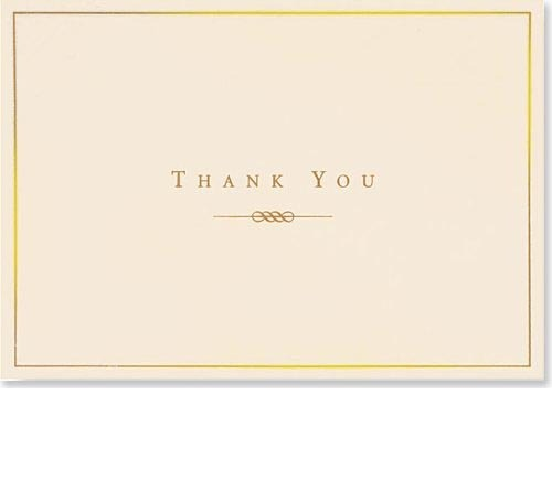 Gold & Cream Thank You Note Cards (14 Cards/Envelopes)