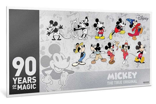 NZ Mint: Mickey Mouse - Silver Coin Note - 90th Anniversary (5g Silver)