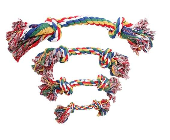 """Pawise: 9"""" Rope Bone - with 2 Knots/Multi Color"""