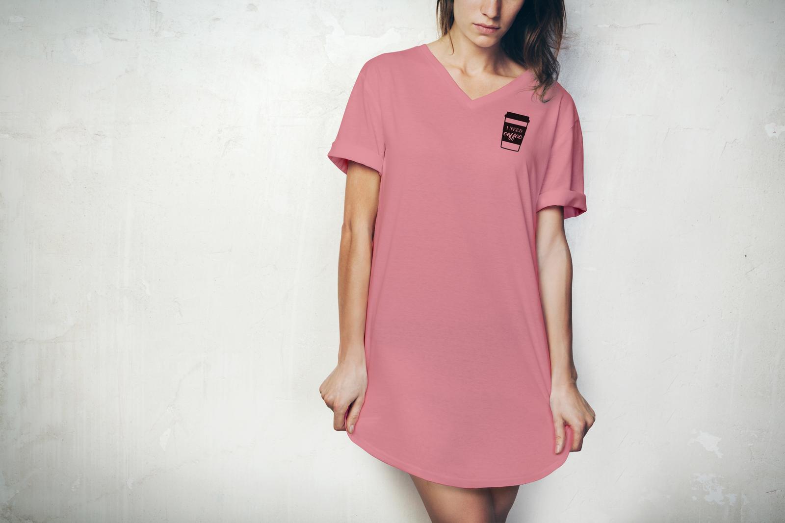 Hello Mello: I Need Coffee V-Neck Sleep Shirt - M-L image