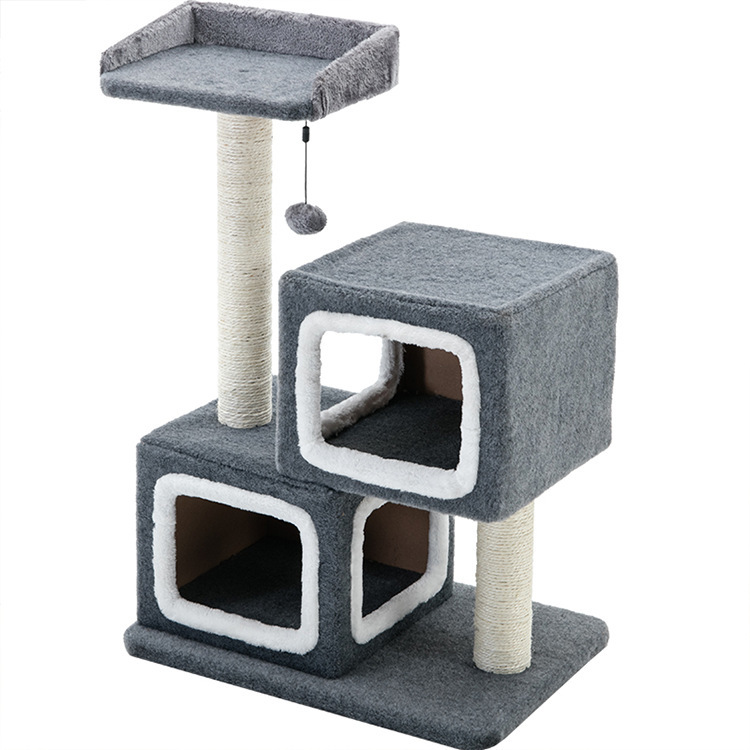 Gorilla: Cat Tree (3 Levels) With 2 Snuggle Cubes 1M - Charcoal / White image