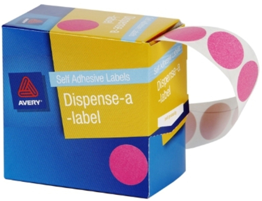 Avery Pink 24mm Diameter Circle Dispenser Labels Pkt500