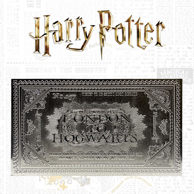 Harry Potter: Hogwarts Express Train Ticket (Silver Plated) - Metal Replica