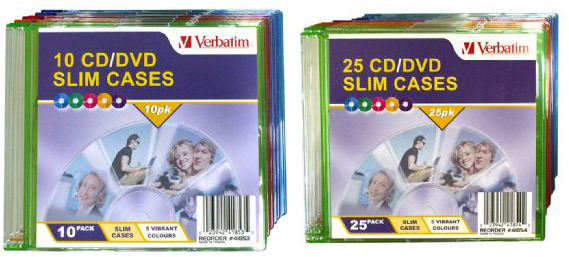 Verbatim CD/DVD Coloured Slim Cases 10 Pack