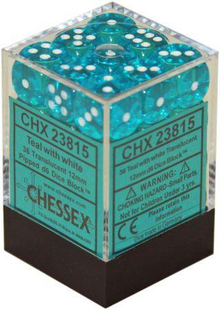 Chessex Signature 12mm D6 Dice Block: Teal & White Translucent