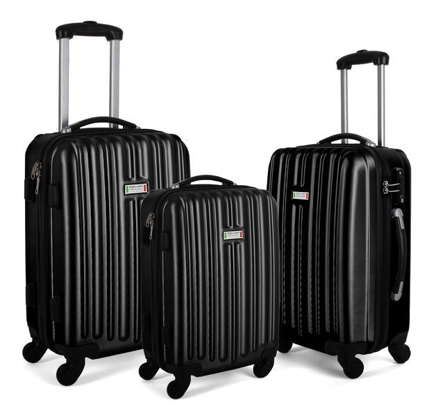 Milano Abs Luxury Shockproof Luggage - Black (3Pcs/Set)