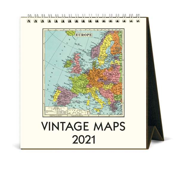 Cavillini & Co.: Vintage Maps 2021 Desk Calendar