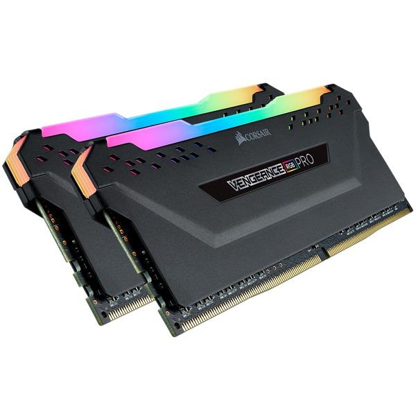 2x8GB Corsair Vengeance DDR4 2666Mhz RGB Pro Black Heat Spreader RAM image