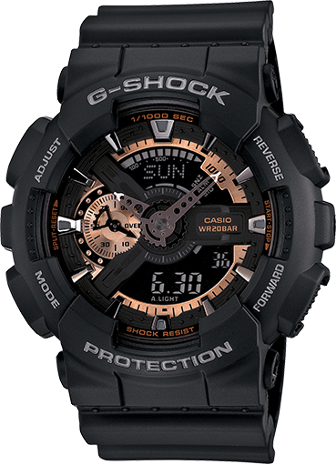 Casio G-Shock Analogue/Digital Mens Black/Rose Gold Watch GA-110RG-1A