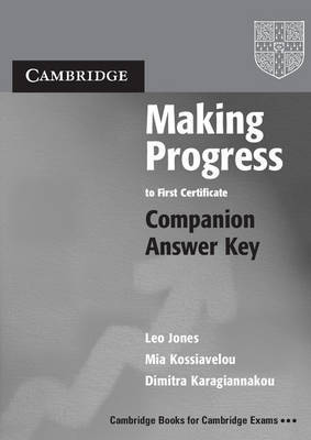Making Progress to First Certificate Companion Answer Key by Leo Jones image